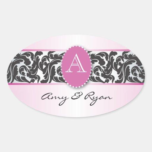 Pink & Black Monogram & Vintage Swirls wedding Stickers