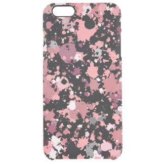 Pink Black Paint Splatter Clear iPhone 6 Plus Case