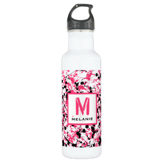Pink & Black Paint Splatter Monogram 710 Ml Water Bottle
