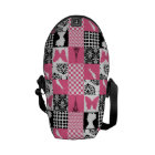 Pink & Black Patchwork Commuter Bag