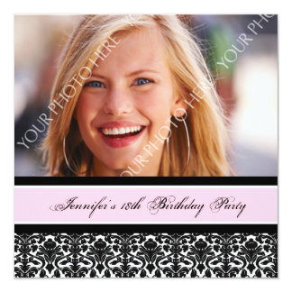 Pink Black Photo 18th Birthday Party Invitations