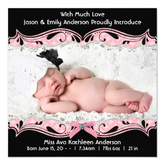 Pink Black Photo Baby Girl Birth Announcement