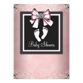 Pink Black Pink Footprints Baby Shower 17 Cm X 22 Cm Invitation Card