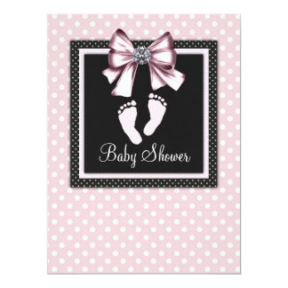 Pink Black Pink Footprints Baby Shower Announcements