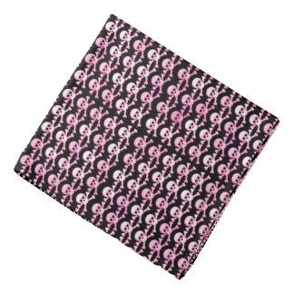 pink black pirate skulls pattern bandana