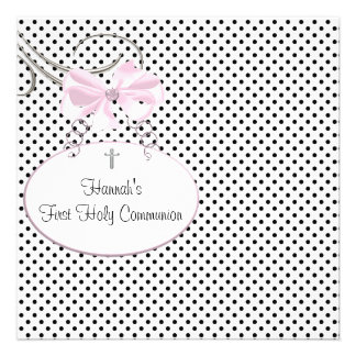Pink Black Polka Dot Cross Girls First Communion Invite