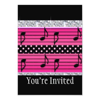 "Pink & Black Polka Dot Diamonds & Musical Notes 5"" X 7"" Invitation Card"