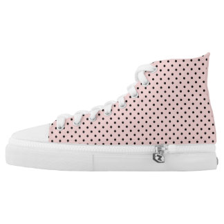 Pink black polka dot high tops