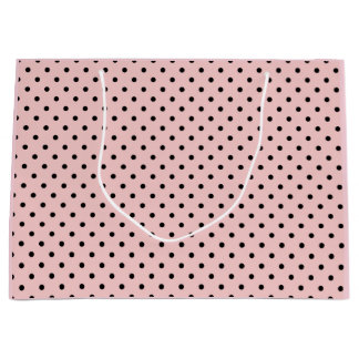 Pink black polka dot large gift bag
