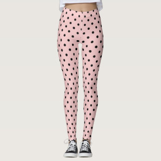 Pink black polka dot leggings