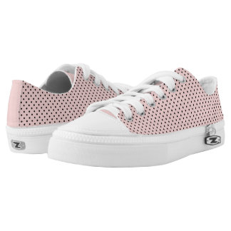 Pink black polka dot low tops
