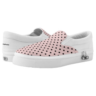 Pink black polka dot slip on shoes