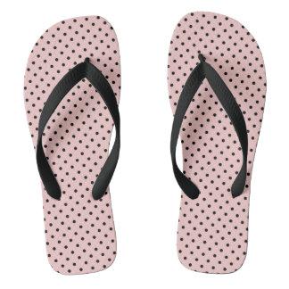 Pink black polka dot thongs