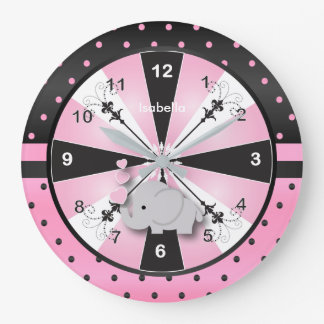 Pink & Black Polka Dot with Gray Elephant Large Clock
