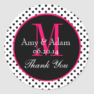 Pink Black Polka Dots Wedding Favor Thank You Classic Round Sticker