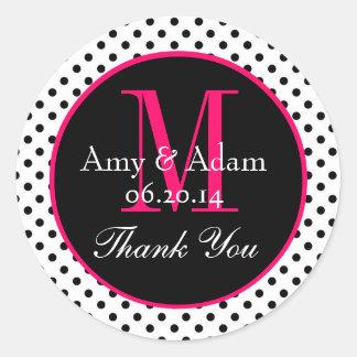 Pink Black Polka Dots Wedding Favor Thank You Round Sticker