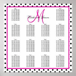 Pink Black Polka Dots Wedding Seating Chart