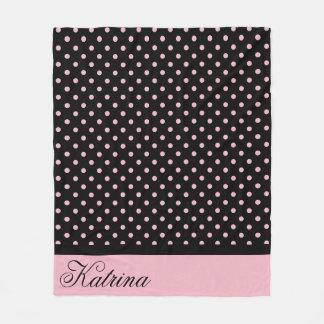 Pink Black Polka With Personal Name Fleece Blanket