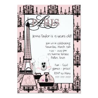 Pink Black Poodle Paris Girls Birthday Party Card