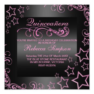 Pink/Black Quinceañera Star & Swirl Invite