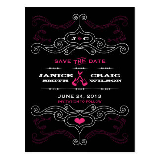 Pink & Black Rock 'n' Roll Music Themed Wedding Postcard