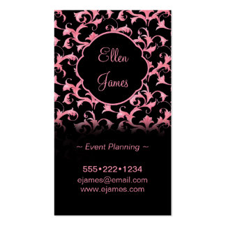 Pink & Black Rococo Baroque Pattern Pack Of Standard Business Cards