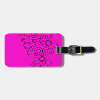 Pink black scribble doodles tag for luggage