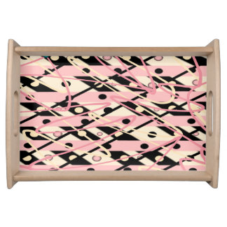 "Pink & Black Serving Tray ""Jazz"""