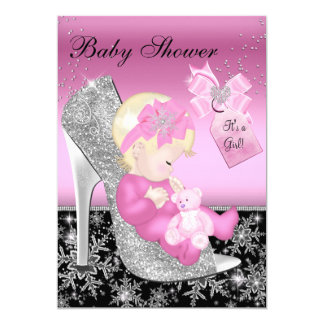 Pink Black Shoe & Snowflake Girl Baby Shower 13 Cm X 18 Cm Invitation Card
