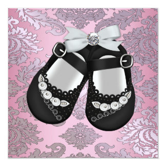 Pink Black Shoes Pink Black Damask Baby Girl Card