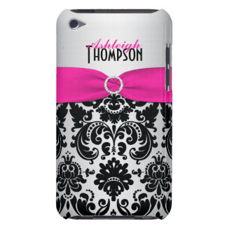 Pink, Black, Silver Damask iPod Touch Case