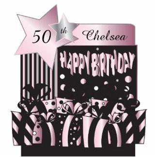 Pink, Black Silver Metallic | 50th Birthday Standing Photo Sculpture