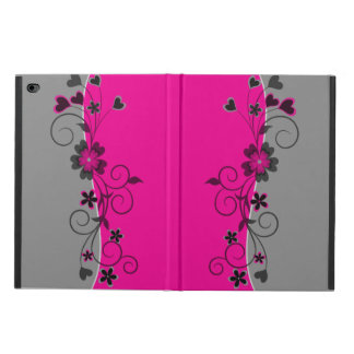 Pink Black Silver swirly flowers and hearts design Powis iPad Air 2 Case