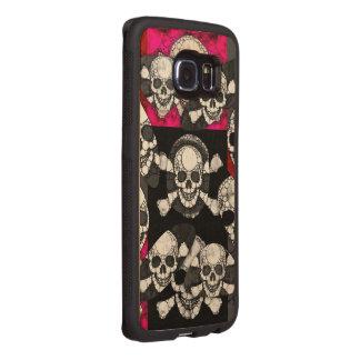Pink Black Skull Bling Pattern Wood Phone Case