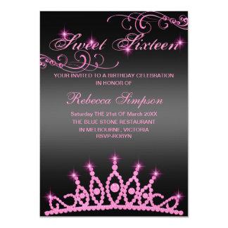 Pink & Black Sparkle Tiara Birthday Invitation