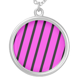 Pink & Black Stripes Round Pendant Necklace