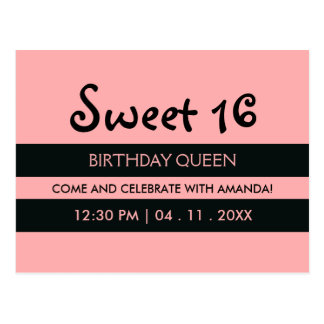 Pink Black Stripes | Sweet Sixteen Birthday Invite Postcard