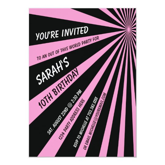 Pink Black Sun Beams Birthday Party Invitation