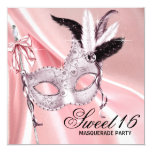 Pink Black Sweet 16 Masquerade Party 13 Cm X 13 Cm Square Invitation Card