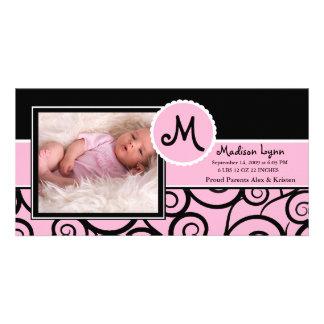 Pink & Black Swirl Baby Girl Birth Photo Card Template