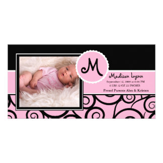 Pink & Black Swirl Baby Girl Birth Photo Card Template