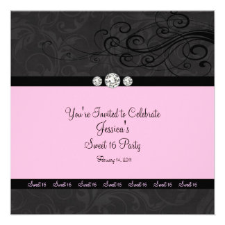 Pink Black Swirl Sweet Sixteen Party Invitations