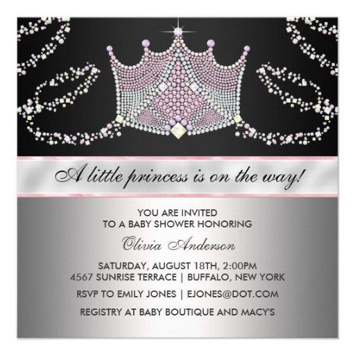 Pink Black Tiara Baby Girl Princess Baby Shower Custom Invites