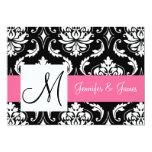 Pink Black Vintage Damask Initial Wedding 13 Cm X 18 Cm Invitation Card