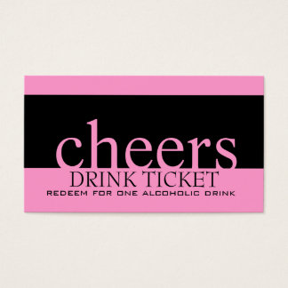 Pink Black Wedding Drink Ticket for Reception