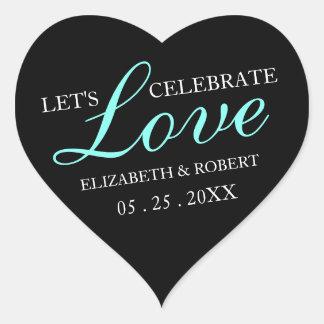 Pink & Black | Wedding Heart Invitation Sticker