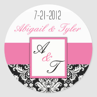 Pink Black Wedding Monogram Damask Sticker