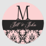 Pink  Black Wedding Monogram Save Date Damask Seal Round Sticker