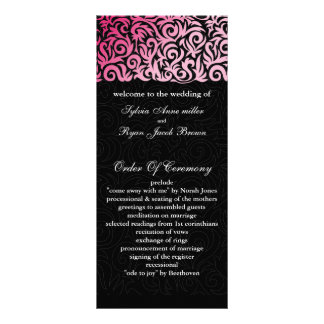 pink black Wedding program Custom Rack Card