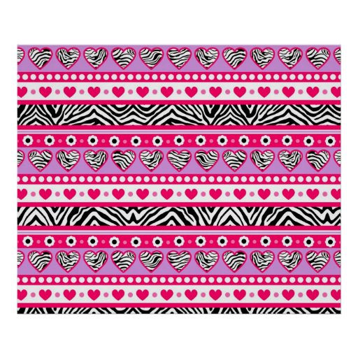 Pink black & white abstract zebra hearts and dots posters